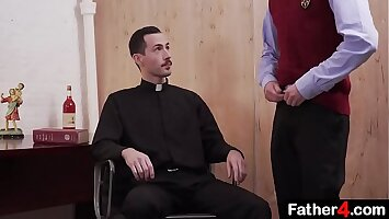 Pervert priest fucks boy from catholic school raw on his desk and uncouth boy moans orgasmically